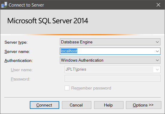 SSMS Database Engine login