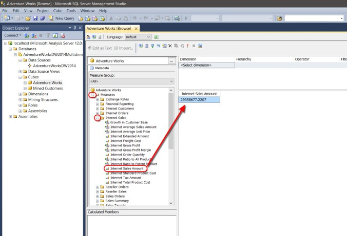 Testing the MDX cube with the SSMS visual query designer