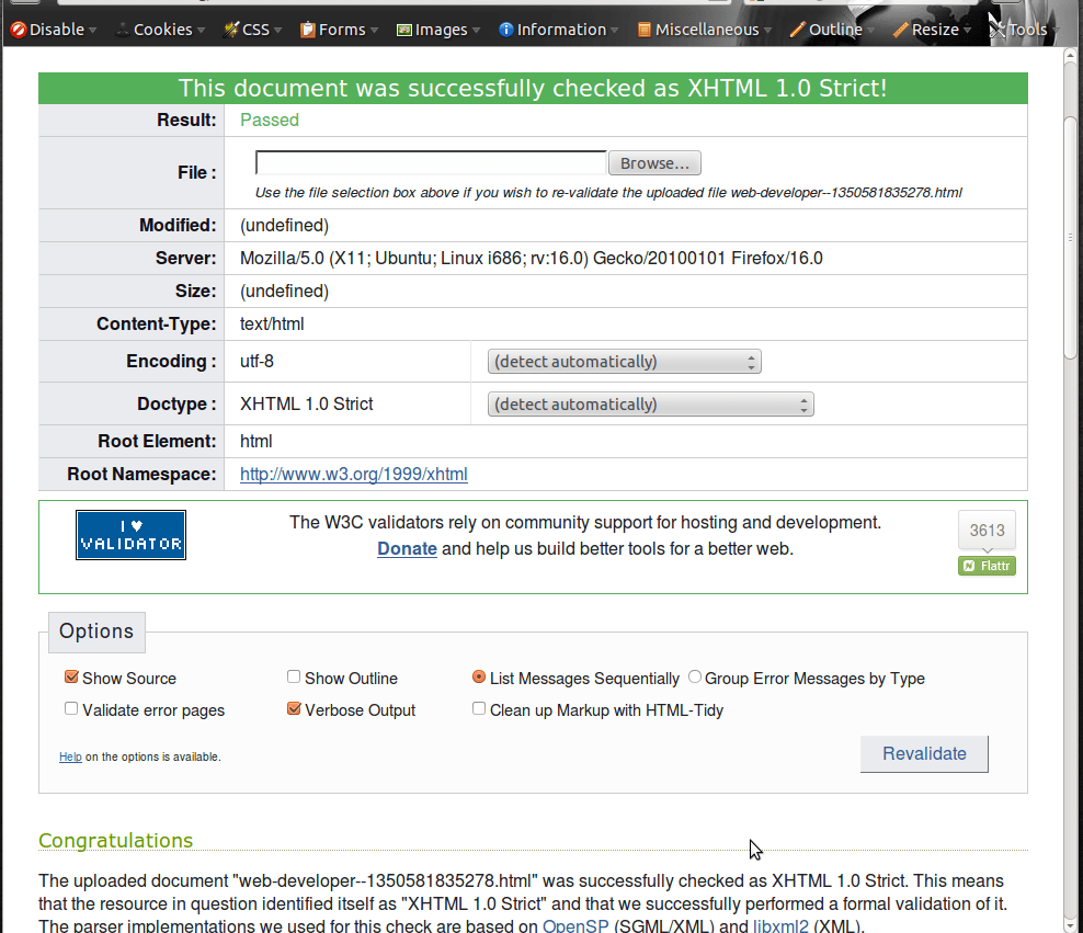 Validate XHTML