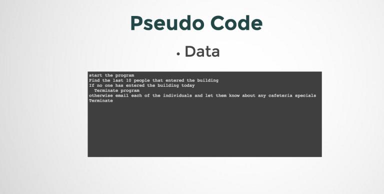 Representing Data in Pseudo Code