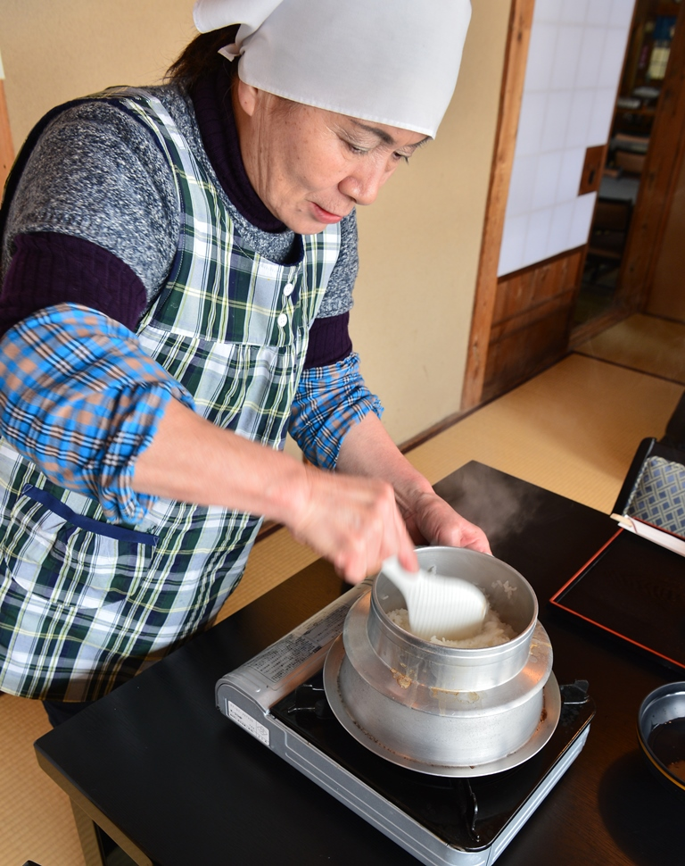 Rice is cooked at your table and served individualy.