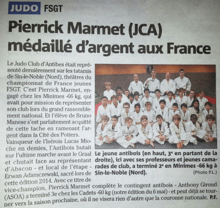 article nice matin championnat de france fsgt 2014