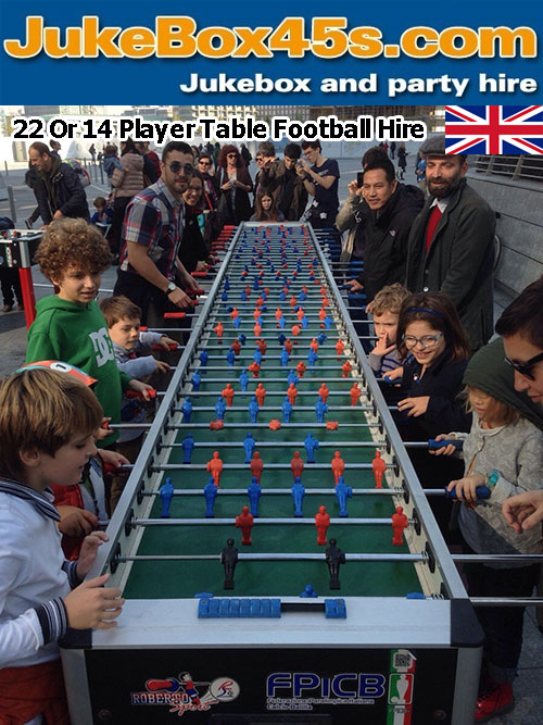 Extra Long 22 player Foosball table hire party event uk