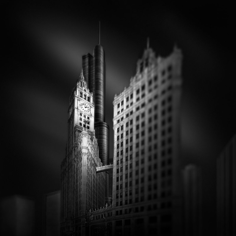 Fluid Time IV – Stopping Time - Wrigley Building and Trump Tower Chicago © Julia Anna Gospodarou