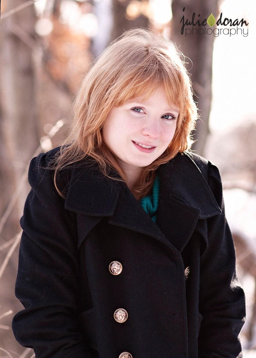redhead in pea coat