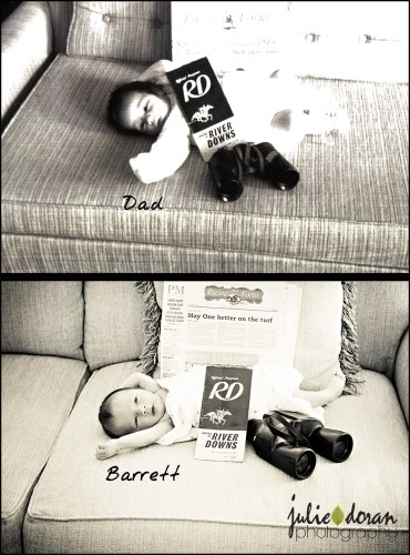 baby picture with horse racing memorabilia