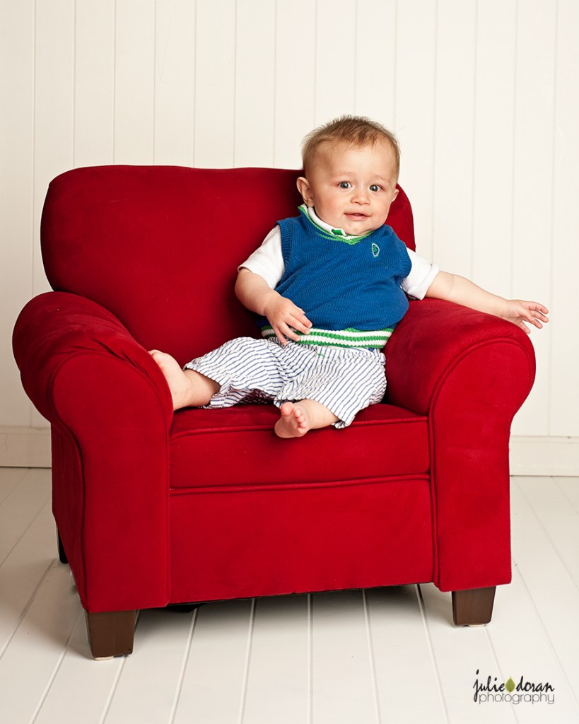 baby boy red chair
