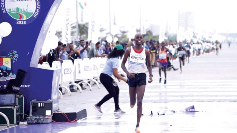 Abraham Kiprotich winning the 2018 Lagos City Marathon