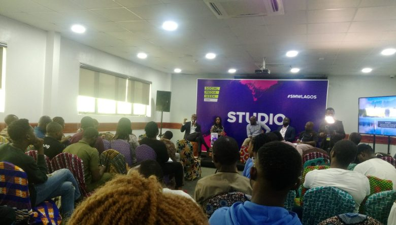 Tunde Kehinde speaking at a Social Media Week Lagos conference