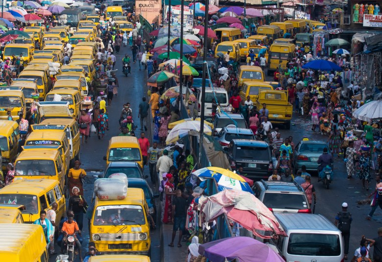 A picture of Lagos showing commercial buses stuck in traffic