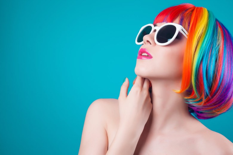 A woman with very colorful hair