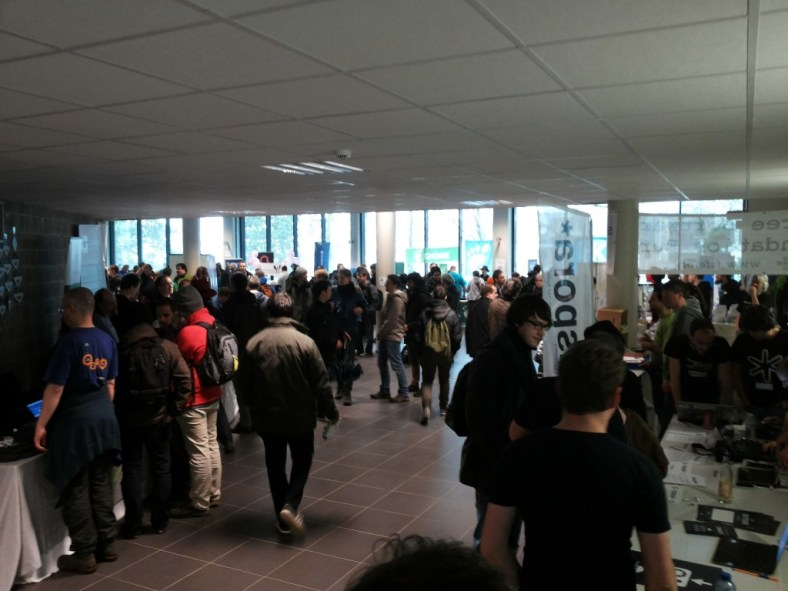 FOSDEM conference goers in Brussels, Belgium