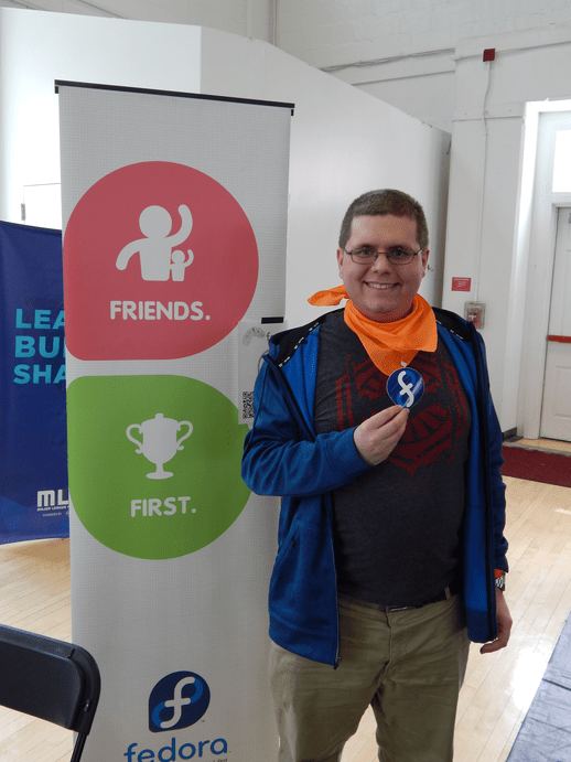 Bitcamp 2016: Mike DePaulo (mikedep333) at the Fedora Bitcamp 2016 table