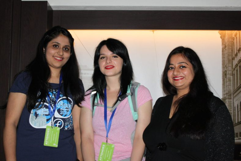 Bee, Jona, Amita at Kraków brewery at Fedora Flock 2016