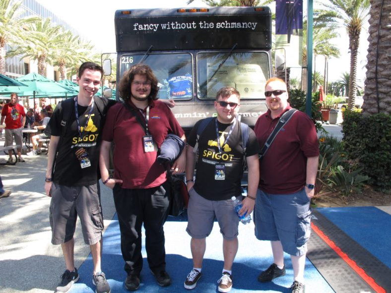 SpigotMC team gathers on Saturday before going into the convention center for MINECON 2016 in Anaheim, California