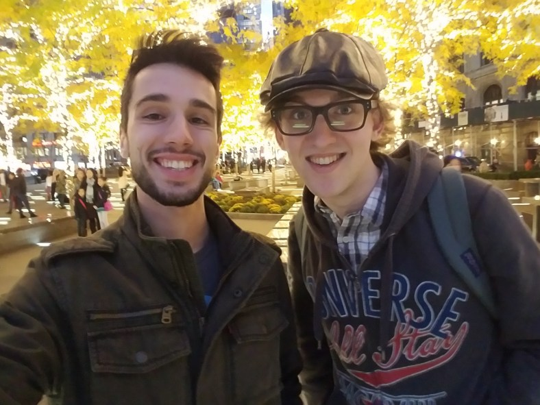 Mike Nolan and Justin W. Flory venture through New York City early on a Sunday evening