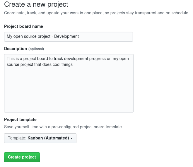 Create a new GitHub project board for your open source project