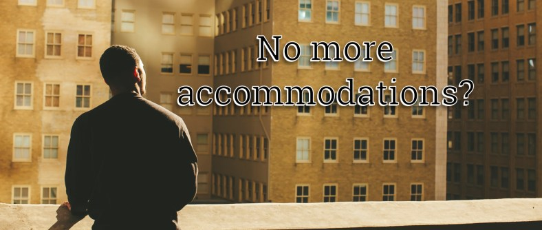 A proposal for the end of accommodations. A man is looking out of a highrise apartment window.
