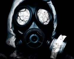 white gas mask with reflection in the eyes