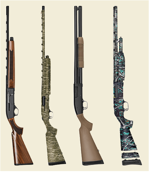 four mossberg shotguns