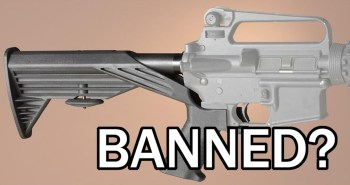 bump stock on an Ar-15 with banned message Bump Stocks
