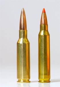 224 Valkyrie cartridge left, .223 Re. cartridge right