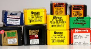 Several boxes of Berger and Nosler bullets