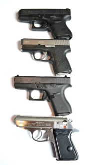 Top-to-bottom Glock G26, Kahr CM9, Glock G42, and Walther PPK