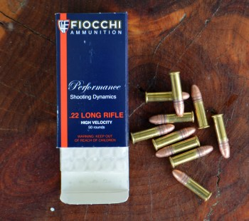 Fiocchi 22 LR blue ammunition box