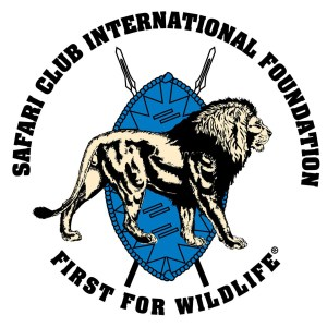 Safari Club international SCI logo of lion and shield with spears