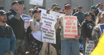 Pro Second Amendment protestors opposing gun control