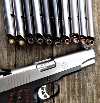 Ruger 1911 pisol with several loaded magazines