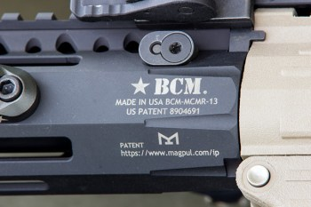 Bravo Company parts on the PolymAR-15, including at KMR Alpha fore end