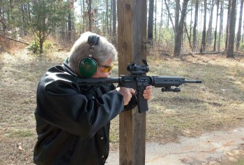 Bob Campbell shooting an AR-15 from a braced position