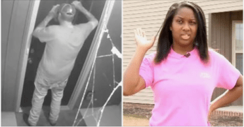 Split screen ow woman who responded after man tried to break in