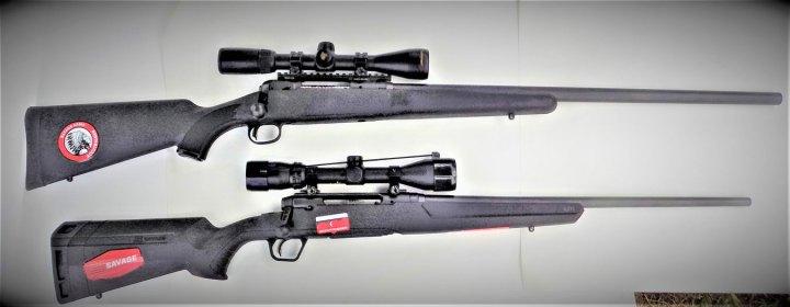 Savage Model 12 above, Savage Axis rifle below