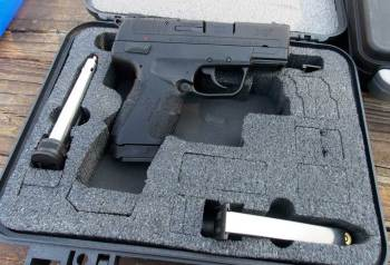 Springfield XDE in a hard plastic pistol case