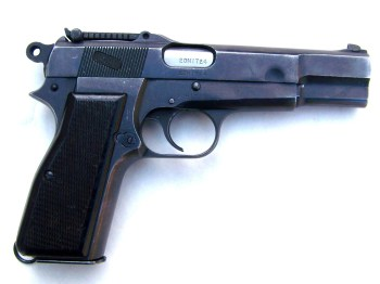 tangent sighted Browning Hi-Power pistol