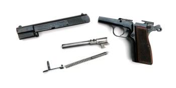 Field stripped Browning Hi-Power pistol
