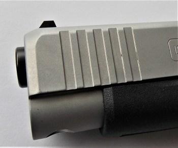 Beveled front slide on the Glock 48 pistol