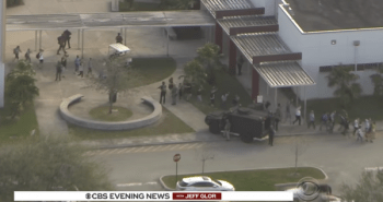 Helicopter view of the aftermath of the Parkland shooting for gun control