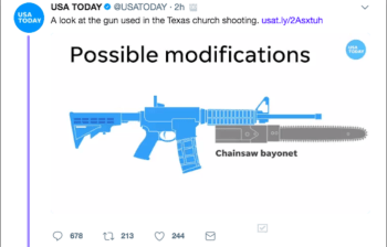 graphic of an AR-15 with a chainsaw bayonet
