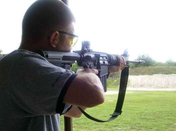 Firing the S&W AR-10 offhand