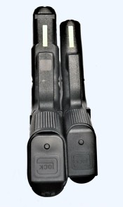 Glock M45 9mm, left, Glock 43X, right,