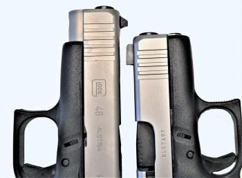 Glock 48 9mm, left, Glock 43X, right