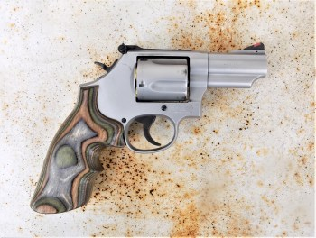 Model 69 .44 Magnum L frame revolver with wood grips
