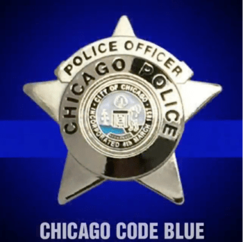 Chicago Code Blue badge and blue line logo to oppose gun control politicians