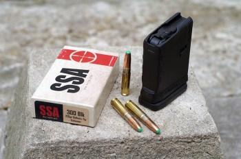 Magazine, bullets, and box of SSA .300 Blackout ammunition