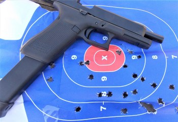 Glock pistol with a 33-round magazine