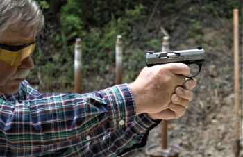 Bob Campbell shooting the Bond Arms Bullpup pistol